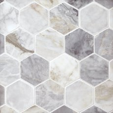 Calacatta Bluette 3 in. Hexagon Polished Marble Mosaic