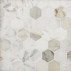 Calacatta 2 in. Hexagon Marble Mosaic