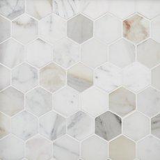 Calacatta 2 in. Hexagon Marble Mosaic