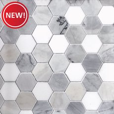 New! Egret Gray 2 in. Hexagon Polished Marble Mosaic