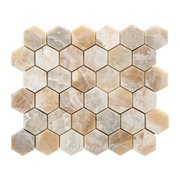 Traonyx 2 in. Hexagon Brushed Travertine Mosaic