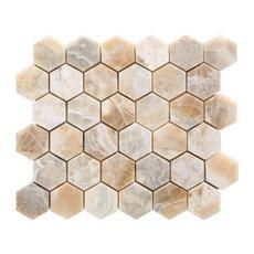 Travertino Traonyx 2 in. Hexagon Brushed Travertine Mosaic