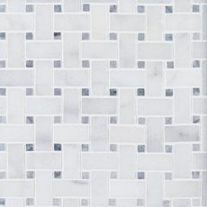 Chateau Basket Weave Polished Carrara Marble Mosaic