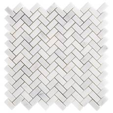 Carrara Chateau Herringbone Honed Marble Mosaic