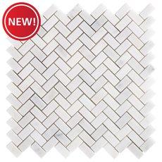 New! Chateau Herringbone Honed Carrara Marble Mosaic