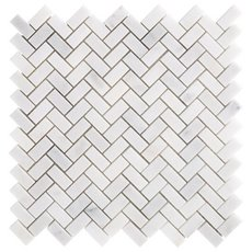Chateau Herringbone Honed Carrara Marble Mosaic