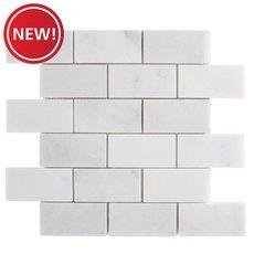 New! Chateau Brick Honed Carrara Marble Mosaic
