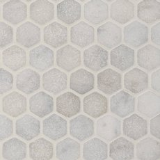 Chateau Tumbled 2 in. Hexagon Carrara Marble Mosaic