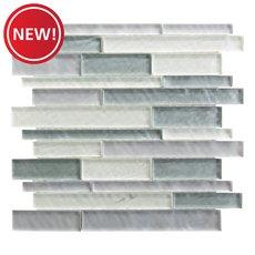 New! Verde Mist Linear Glass Mosaic