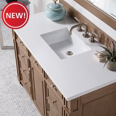 New! Bristol 48 in. White Washed Vanity with White Quartz Top