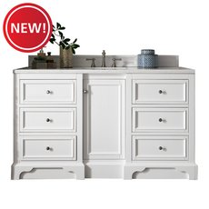 New! Desoto 60 in. Bright White Vanity with Carrara Top