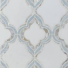 Cassia II Mother of Pearl Blue Celeste Marble Waterjet Mosaic