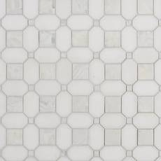 Thassos and Mother of Pearl II Basket Weave Marble Mosaic