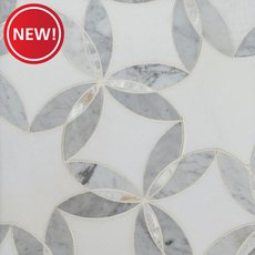 New! Dahlia II Thassos Mother of Pearl Waterjet Mosaic