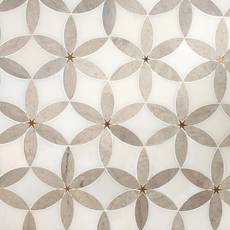 Cressida II Royal White and Brass Waterjet Marble Mosaic