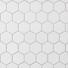 Satin White Matte 2 in. Hexagon Porcelain Mosaic