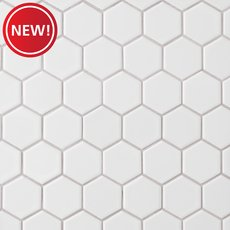 New! Satin White Matte 2 in. Hexagon Porcelain Mosaic