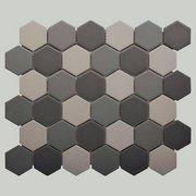 Dark Blend Matte 2 in. Hexagon Porcelain Tile