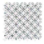 Bianco Carrara Thassos Moonstone Flower II Marble Mosaic
