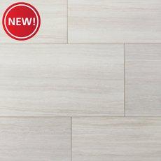 New! White Vein Cut Travertine Rigid Core Luxury Vinyl Tile - Foam Back