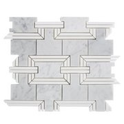 Ansel Thassos and Bianco Carrara Marble Waterjet Mosaic