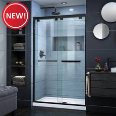 New! Encore Satin Black Semi-Frameless Bypass Sliding Shower Door
