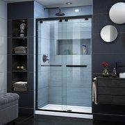 Encore Satin Black Semi-Frameless Bypass Sliding Shower Door