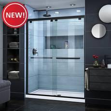 New! Encore Satin Black Semi-Frameless Bypass Sliding Shower Door
