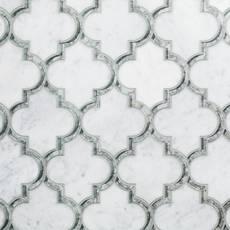 Electra II Bianco Carraro Mirror Polished Waterjet Mosaic