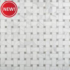 New! Cesari Bianca Basketweave Polished Porcelain Mosaic