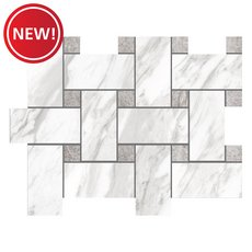 New! Cesari Bianca III Basket Weave Polished Porcelain Mosaic