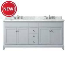 New! Aurora 73 in. Gray Vanity with Carrara Top