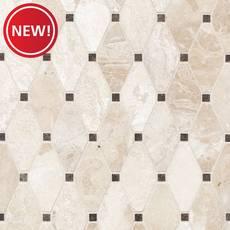New! Crema Royal Clipped Diamond II Polished Marble Tile