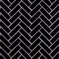 Matte Black Herringbone Porcelain Tile