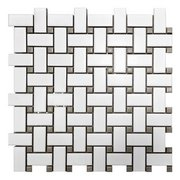 Gray and White Basket Weave Porcelain Tile