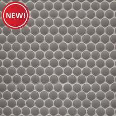 New! Matte Gray Porcelain Penny Mosaic