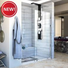 New! Linea Chrome Single Panel Framless Screen Shower Door