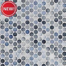 New! Multi Gray Polished Porcelain Penny Mosaic