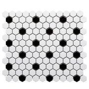 White and Black Hexagon Polished Porcelain Mosaic