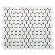 White Small Hexagon Polished Porcelain Mosaic