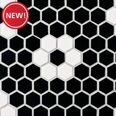 New! Dark Daisy 1.5 in. Ceramic Hexagon Mosaic