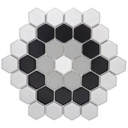 Rosette 1.5 in. Ceramic Hexagon Mosaic