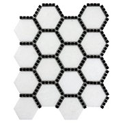 Gossamer White and Black Marble Hexagon Mosaic