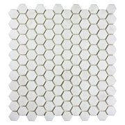 Gossamer White 1 in. Polished Marble Hexagon Mosaic