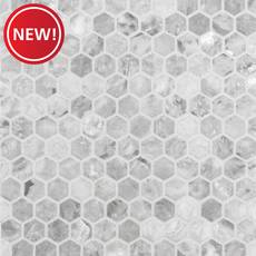 New! Castlerock Gray 1 in. Hexagon Polished Marble Mosaic