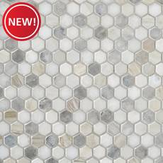 New! Coastal Ivory Blend 1 in. Honed Marble Mosaic