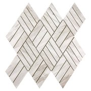 Coastal Ivory Honed Marble Diamond Mosaic