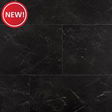 New! Black Marble Luxury Vinyl Tile - Cork Back