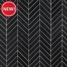 New! Jet Black Basalt Chevron Mosaic