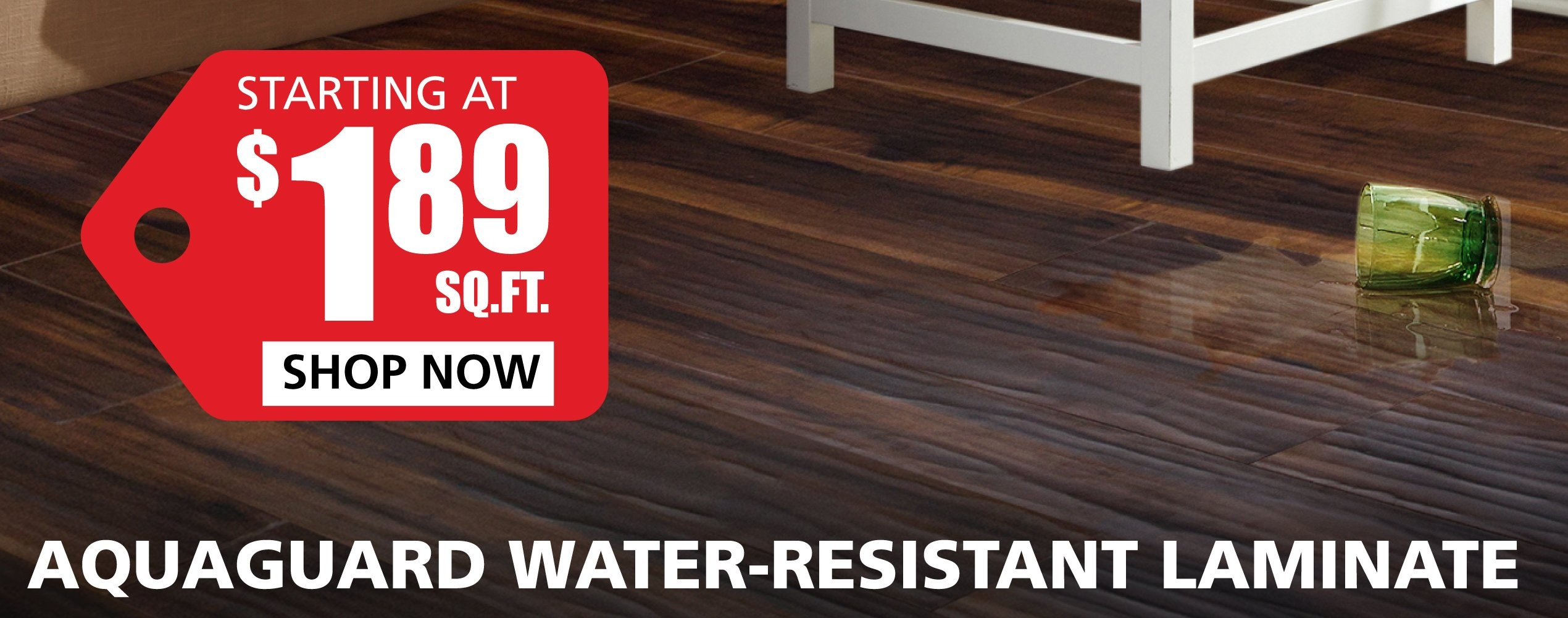 Water Resistant Laminate starting at $2.99 per square foot